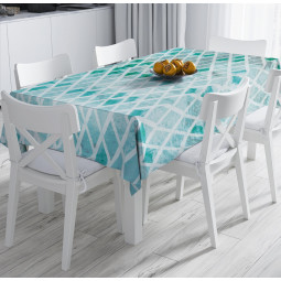 Tablecloth - Turquoise rhomboids