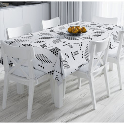 Tablecloth - Geometry in white