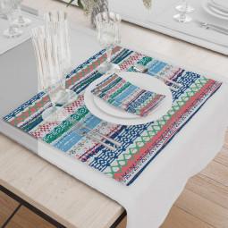 Set - Place Mats + Cloth Napkin - Broderie ornaments