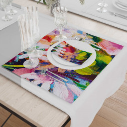 Set - Place Mats + Cloth Napkin - Spring color