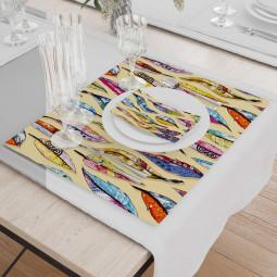 Set - Place Mats + Cloth Napkin - Art feathers