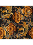 Set - Place Mats + Cloth Napkin - 3D flowers in orange