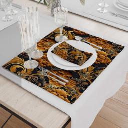 Set - Place Mats + Cloth Napkin - 3D flowers in orange