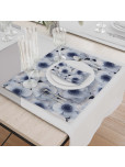 Set - Place Mats + Cloth Napkin - Winter Flowers