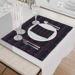 Set - Place Mats + Cloth Napkin - African-1