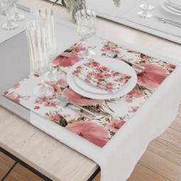 Set - Place Mats + Cloth Napkin - Poppy garden