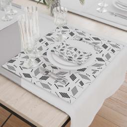 К-т подложки + салфетки - Геометрия в бяло