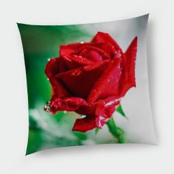 Декоративна възглавница с цип - Червена роза