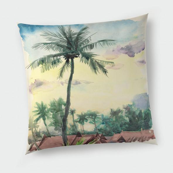 Декоративна възглавница с цип - Тропически акварел