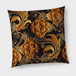 Декоративна възглавница с цип - 3D цветя в оранжево