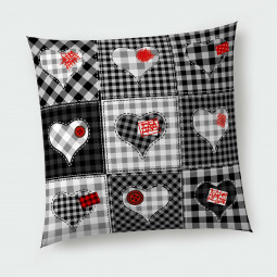 Декоративна възглавница - Черно-бели Сърчица