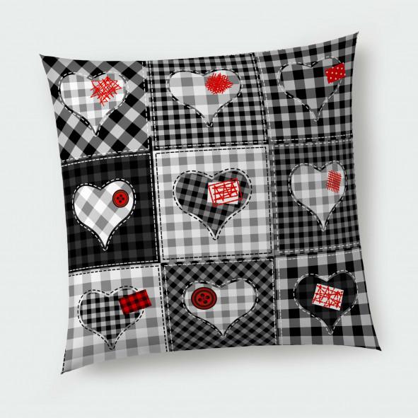 Декоративна възглавница с цип - Черно-бели Сърчица
