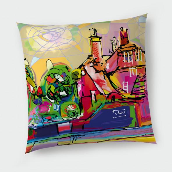 Декоративна възглавница с цип - Шарената къща