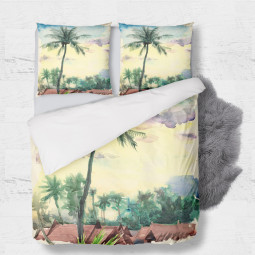 Set - duvet Cover + 2pc shams - Tropical aquarelle