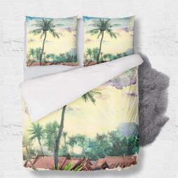 Set - duvet Cover + 2pc shams - Tropical aquarelle
