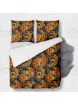 Set - duvet Cover + 2pc shams - 3D flowers in orange