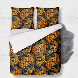 Set - duvet Cover + 2pc shams - 3D flowers in orange