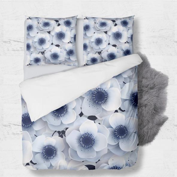 Set - duvet Cover + 2pc shams - Winter Flowers