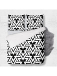 Set - duvet Cover + 2pc shams - Triangles in black and white