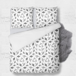 Set - duvet Cover + 2pc shams - Geometry in white