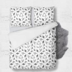К-т плик + 2бр. калъфки - Геометрия в бяло