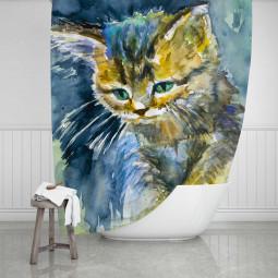 Завеса за баня - Синьо коте