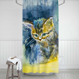 Shower Curtains - Blue kitten