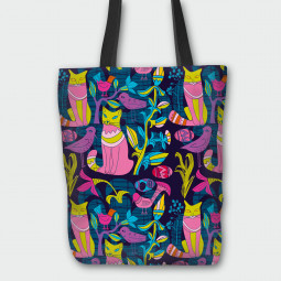 Текстилна торбичка - Котешко парти