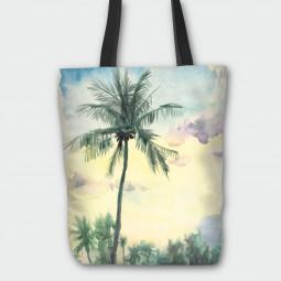 Текстилна торбичка - Тропически акварел