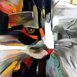 Текстилна торбичка - Котешко лице