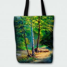 Текстилна торбичка - Есенна гора