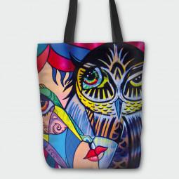 Текстилна торбичка - Сойка присмехулка