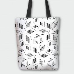 Текстилна торбичка - Геометрия в бяло
