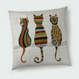 Декоративна възглавница с цип - Цветни котета