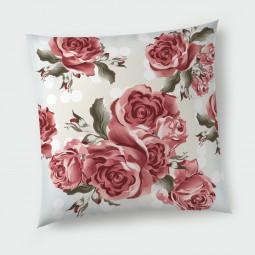 Декоративна възглавница с цип - Червени рози