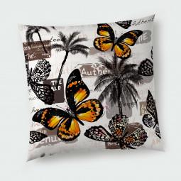 Декоративна възглавница с цип - Пеперуди и палми