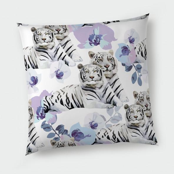 Декоративна възглавница с цип - Бял тигър