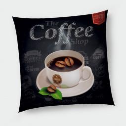 Декоративна възглавница с цип - Горещо кафе