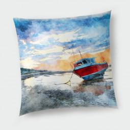 Декоративна възглавница с цип - Самотна лодка