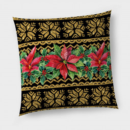 Декоративна възглавница с цип - Коледна звезда злато