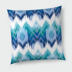 Декоративна възглавница с цип - Синьо и зелено