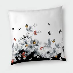 Декоративна възглавница с цип - Цветя и пеперуди