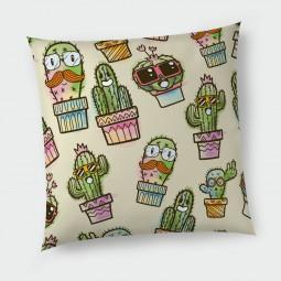 Декоративна възглавница с цип - Весели кактуси