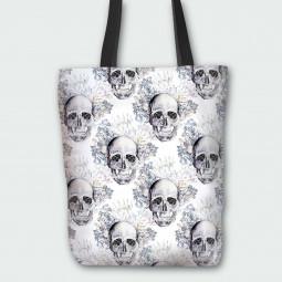 Текстилна торбичка - Готически черепи