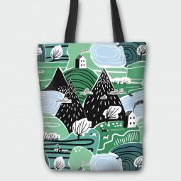 Текстилна торбичка - Горски къщички