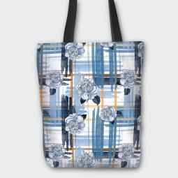 Текстилна торбичка - Сини рози
