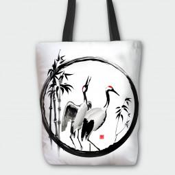 Текстилна торбичка - Жерави