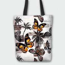 Текстилна торбичка - Пеперуди и палми