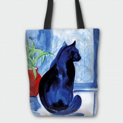 Текстилна торбичка - Синьо коте