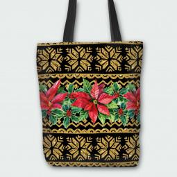 Текстилна торбичка - Коледна звезда злато